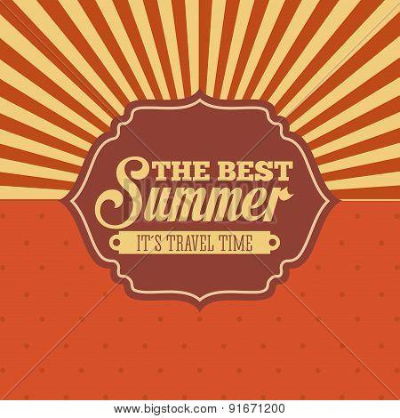 Summer design over orange background vector illustration