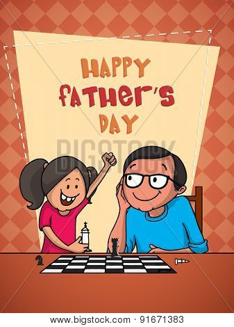 Cute little girl playing chess with her dad on the occasion of Happy Father's Day celebrations, beautiful greeting card design.
