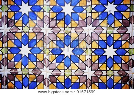 Background created by a tiled wall, Sintra, Lisbon, Portugal.