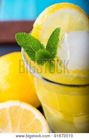 Homemade Lemonade With Mint And Sugar