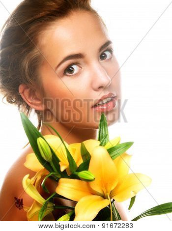 young beautiful woman with flower
