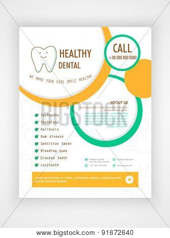 Flyer, Template or Brochure layout for Medical Care and Healthy Dental concept.
