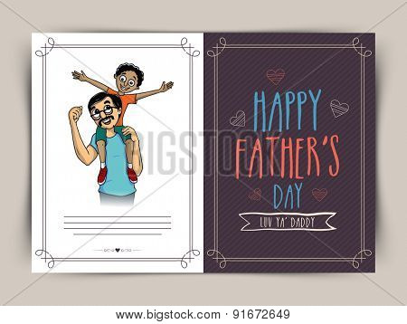 Beautiful greeting card design for the celebration of Happy Father's Day with happy little boy sitting on shoulders of his father.
