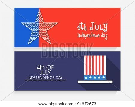 Red and blue website header or banner set decorated with star and long hat for 4th of July, American Independence Day celebration.