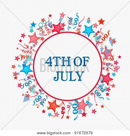 Colorful stars and confetti decorated frame with text 4th of July for American Independence Day celebration on grey background.