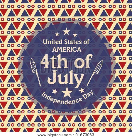 4th of July, American Independence Day celebration with stylish sticky design on beautiful seamless background.