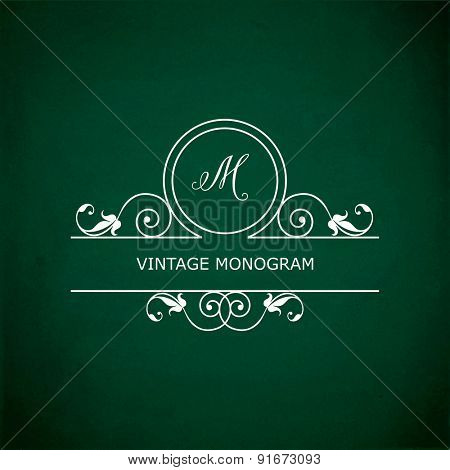 Monogram of the letter M, in retro floral style on green chalkboard background. EPS10 vector format