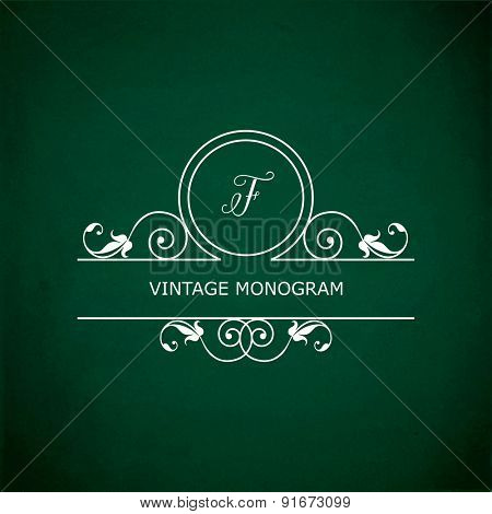 Monogram of the letter F, in retro floral style on green chalkboard background. EPS10 vector format