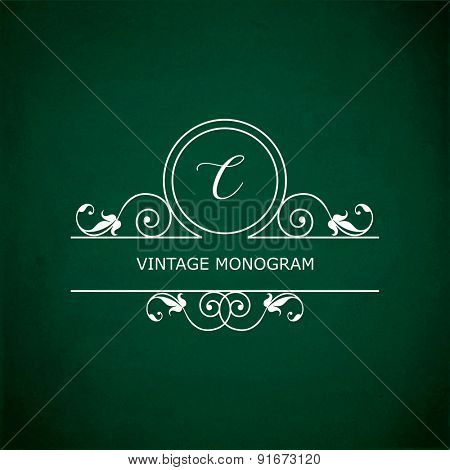 Monogram of the letter C, in retro floral style on green chalkboard background. EPS10 vector format