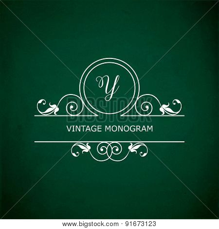 Monogram of the letter Y, in retro floral style on green chalkboard background. EPS10 vector format