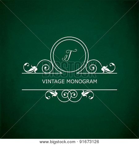Monogram of the letter T, in retro floral style on green chalkboard background. EPS10 vector format