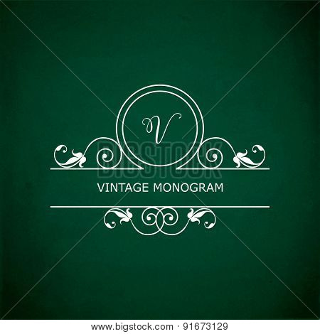 Monogram of the letter V, in retro floral style on green chalkboard background. EPS10 vector format
