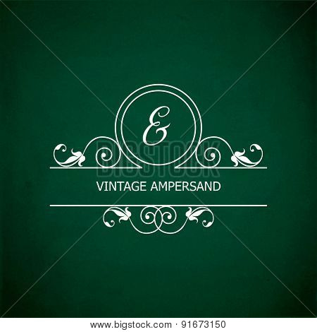 Monogram of the ampersand &, in retro floral style on green chalkboard background. EPS10 vector format