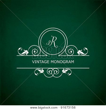 Monogram of the letter R, in retro floral style on green chalkboard background. EPS10 vector format