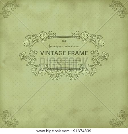 Vintage background on polka dot background