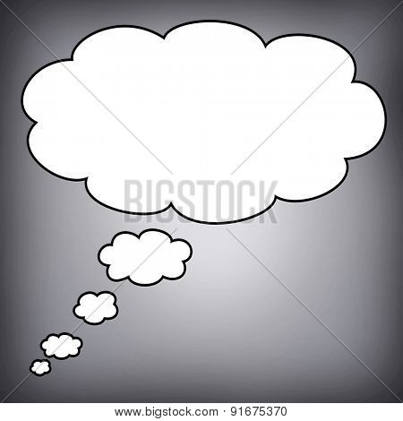 Big bubble in blank with a grey background