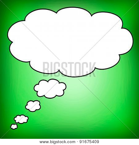 Big bubble in blank with a green background