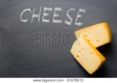 the edam cheese on blackboard