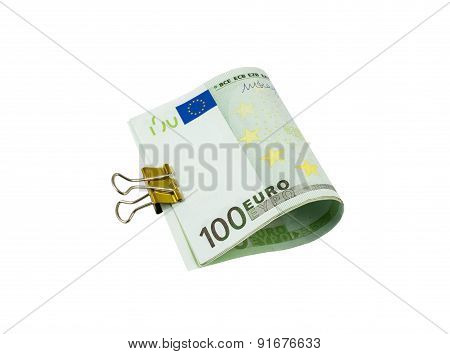 Banknotes Of Euro Bills With Clip