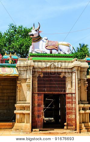 Entrance of an ancient temple entrance with Nandi ~ the gigantic sacred bull at the top