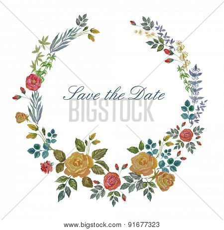 Vector Watercolor Wreath with Roses and Herbs. Floral Background for Wedding, Invitation, Valentine's Day.