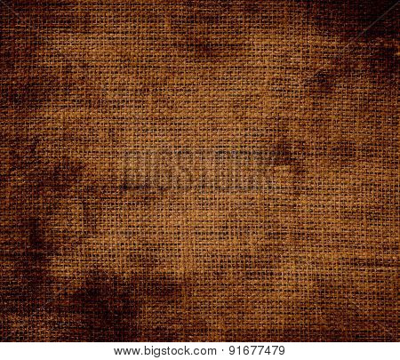 Grunge background of chocolate (traditional) burlap texture