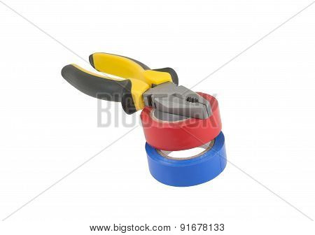 Pliers And Adhesive Plastic Tape