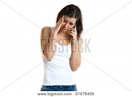 Beautiful young woman talking to the phone