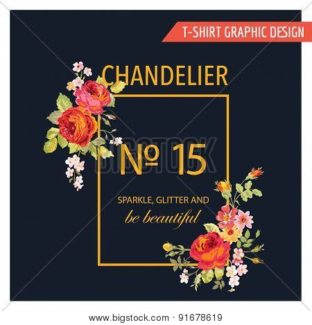 Floral Graphic Design - for t-shirt, fashion, prints - in vector