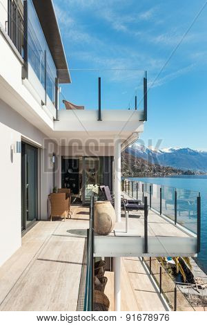 modern architecture, beautiful modern penthouse, terrace