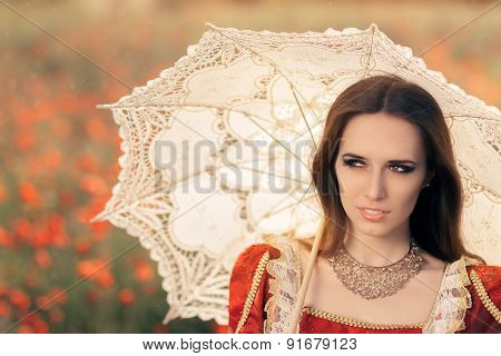 Beautiful Princess with Umbrella in Summer Floral Landscape