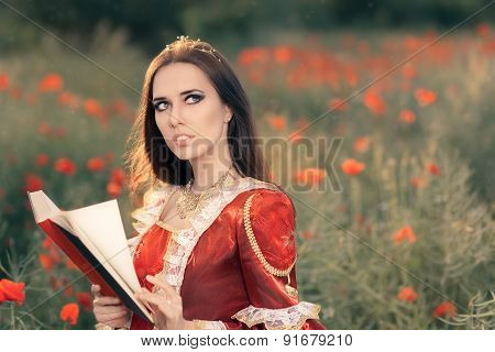Beautiful Princess Reading a Book in Summer Floral Landscape