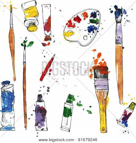set of art materials
