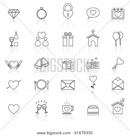 Wedding Line Icons With Reflect On White