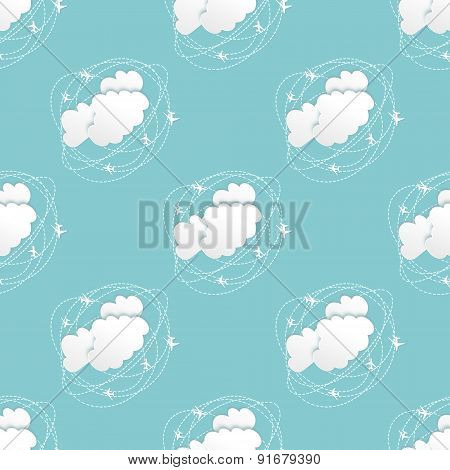 Seamless Pattern Or Background With Clouds And Planes