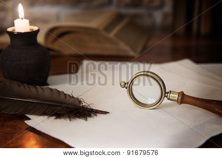 Historical Motif, Magnifier And Books