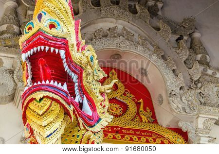 Dragon on gates of the temple in Bangkok, Thailand