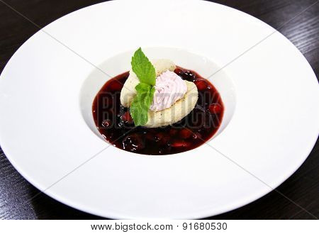 Delicious dessert served in a white plate.