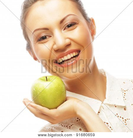 smiling woman with green apple