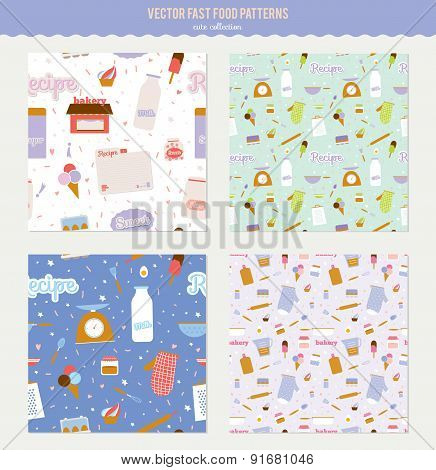 Cute vector seamless food pattern with cartoon milk, sugar, reci