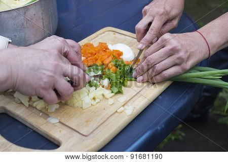 Chopping Vegetables On A Tray