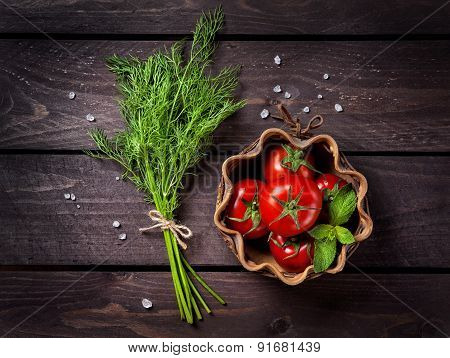 Raw Vegetables And Herbs