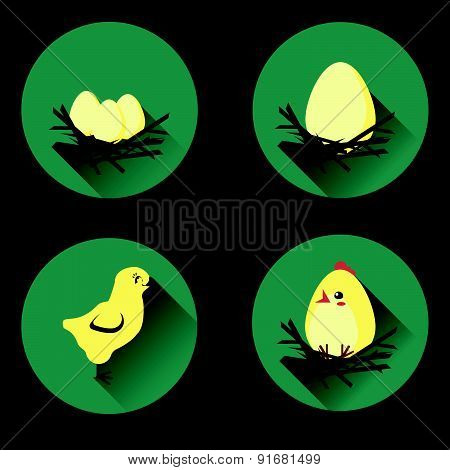 Set of icons in flat style with nest, egg and chicken