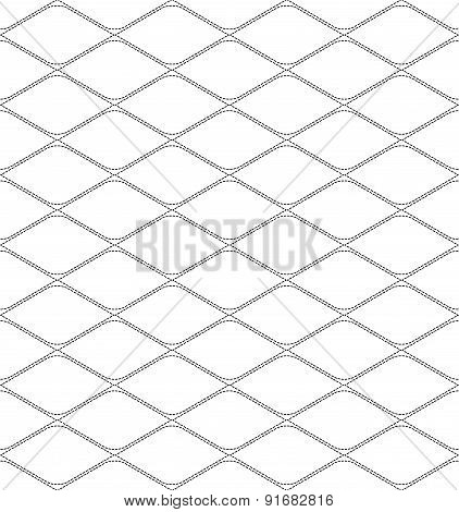 Black And White Geometric Seamless Pattern With Dashed Line, Abstract Background