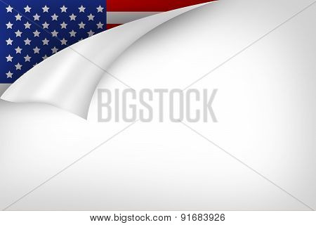 Folding Paper With Usa Flag Behind
