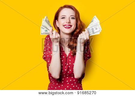 Girl In Red Dress With Money
