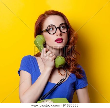 Girl In Blue Dress With Dial Phone