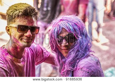 Young People Celebrate Holi Festival In India