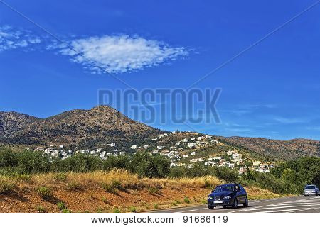 Cars On The Road In Provence Mountains