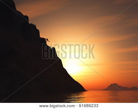3D render of a rock climber climbing a large mountain against a sunset sky